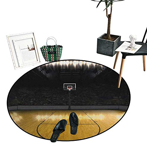 Teen Room Round Rugs for Bedroom Empty Basketball Arena Competition Game Winner Champion Success Theme Soft Area Rugs (51