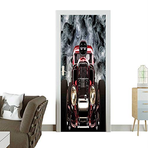 Door Sticker Wallpaper Collecti Vintage American Hot Rod Smoke Background Race Pictur Fashion and Various patternW23 x H70 -