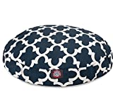 Large White Navy Blue Trellis Pattern Dog Bed, Quatrefoil Modern Round Pet Bedding, Bold Fun Print, Features Water, Stain Resistant ,Removable Cover, Comfort Design, Polyester