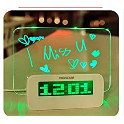 Shopline LED Alarm Clock with Message Board, Digital Fluorescent Message Board with 16 Songs and Temperature, Calendar Timer Functions (4 USB Ports, Green Light)