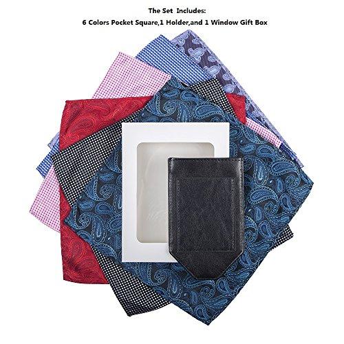 Pocket Squares For Men,Silk Men's Suit Handkerchiefs with Pocket Square Holder Set For Wedding Party Men Gift by pocket square (Image #6)