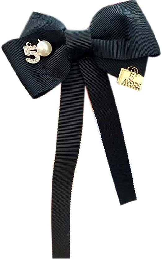 CADANIA Mujer Long Ribbon Bow Tie Broche Número 5 Faux Pearl Pin ...