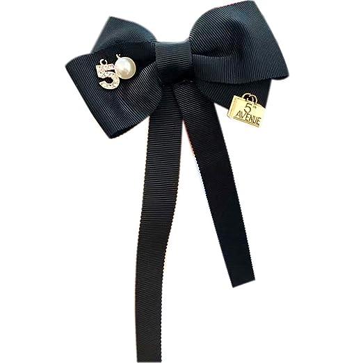 LLLucky Women Long Ribbon Bow Tie Broche Número 5 Faux Pearl Pin ...