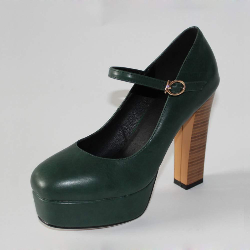 Ai Ya-liangxie Dimensioni Dimensioni Dimensioni 32-42 Donne Mary Jane Scarpe Classic Vintage Thick High Heels Square Toe Pompe Piattaforma Partito Donna Scarpe di Nozze d41129