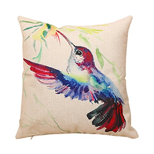 me coo fashion ink painting bird linen pillow case cute colorful bird trees pillowcase decorative throw cushion pillow covers 1818inches 1pcs