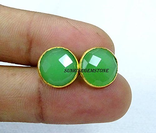 Chrysoprase Chalcedony Faceted Round 11 mm Bezel Stud Earrings 24k Gold Plated Handmade Jewellery BOHEMIAN 1 Pair. ()