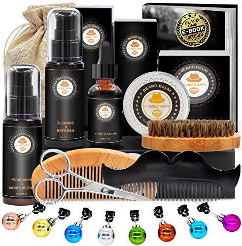 Upgraded Beard Grooming Kit w/Beard Conditioner,Beard Oil,Beard Balm,Beard Brush,Beard Shampoo/Wash, Beard Shaper,Beard Comb,Beard scissors,Storage Bag,Beard E-Book,Beard Growth Care Gifts for Men
