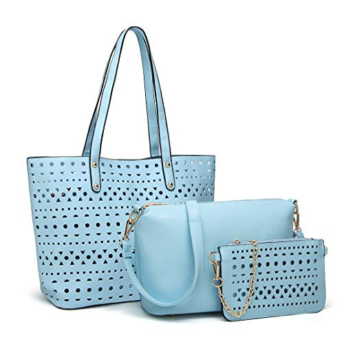 Handbag Bag Miss 3pcs 1829 Leather Hollow Lulu PU Blue Crossbody Set Purse Soft Bag Fashion Shoulder Pouch Upptqzcw