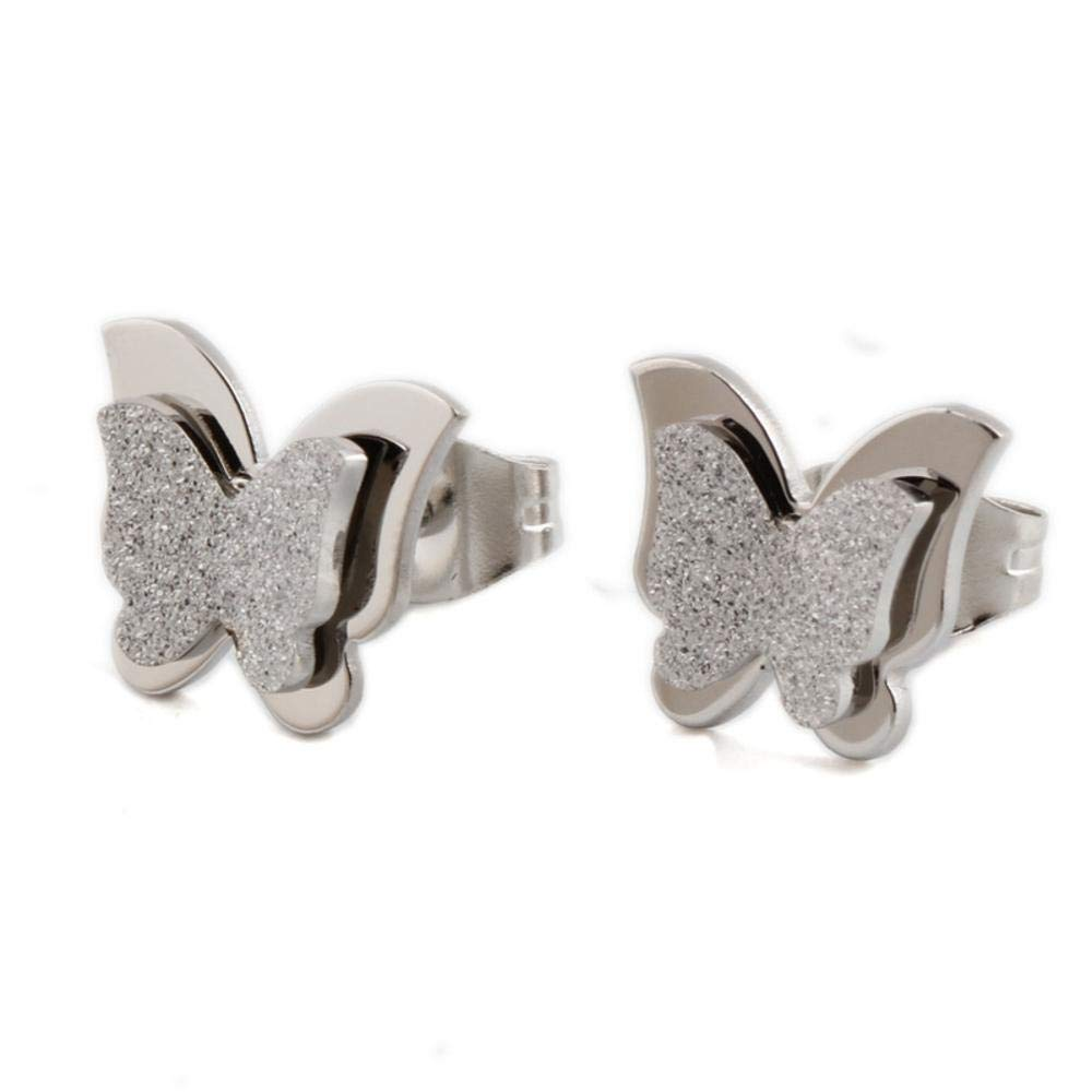 Ludage Earrings, Abrasive Butterfly Knot Ear Nail Titanium Steel Earrings Earring Earring Allergy Birthday Gift to Friends 12mm10mm