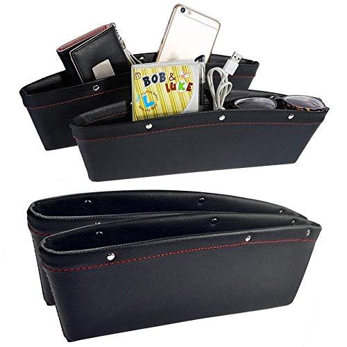 WSS - 2pcs Negro Piel Sintética organizador de asiento de coche para bolsillo lateral para hendidura bolsillo Catcher llena brecha entre consolas y asientos ...
