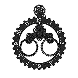 Smart 3D Gear Clock Mechanical Style, 26 x 22 Large Sized Quartz Movement, Decorative with Premium Plastic Moving Clock for Office, Home, Kitchen, Bar, Modern Living Room Decor (Sawtooth Wheel)