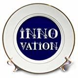 3dRose Alexis Design - Mechanical Engineering - Innovation elegant text in two lines on blue background - 8 inch Porcelain Plate (cp_286081_1)