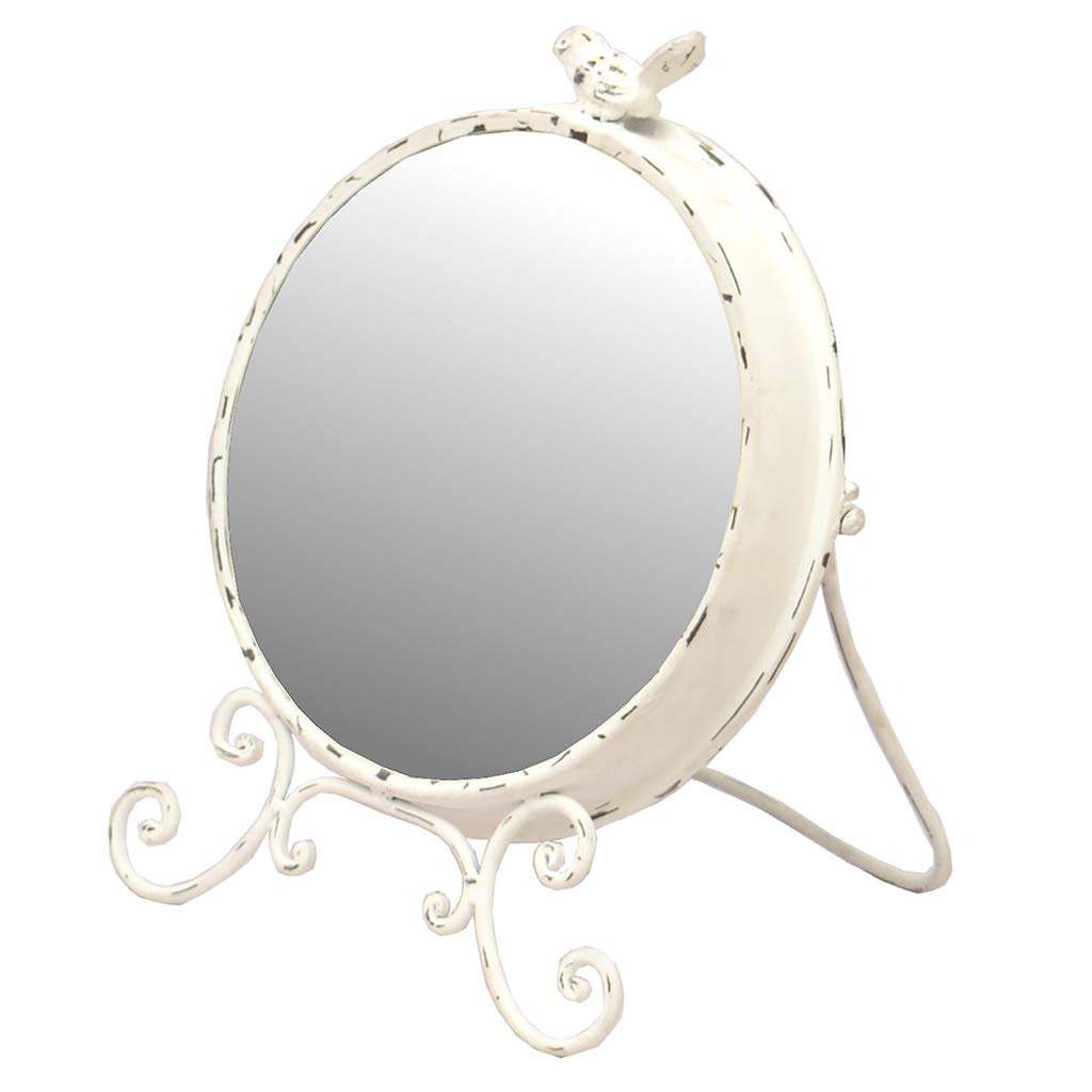 Shabby Chic White Ornate Bird Round Free-Standing Countertop Table Vanity Mirror Dibor