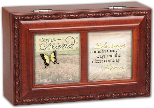 Cottage Garden My Friend Blessings Woodgrain Petite Music Box / Jewelry Box Plays That�S What Friends Are For (Box Music Grain Wood Petite)