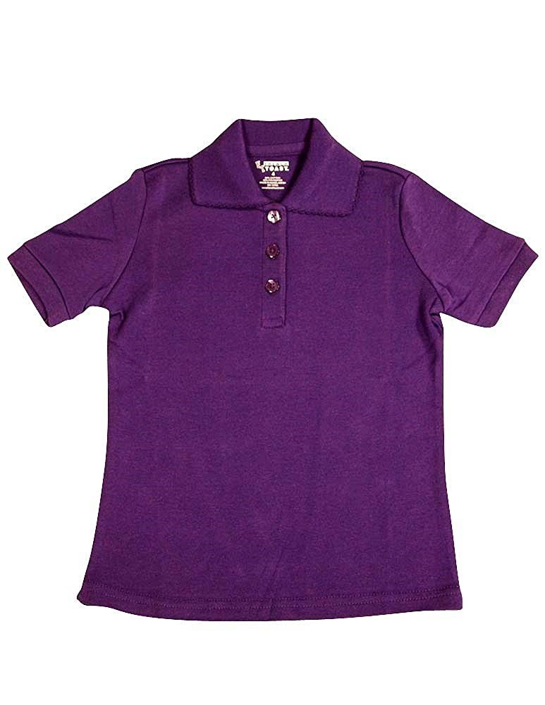 French Toast School Uniforms Girls Short Sleeve Interlock w//Picot Collar A9423