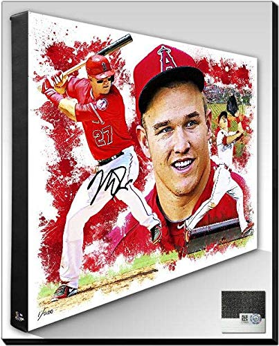 Angels Stretched Canvas - Autographed Mike Trout 20