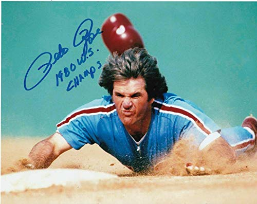 Rose Autographed 8x10 Pete Photo - Pete Rose Signed Photograph - 1980 WS CHAMPS 8x10 - Autographed MLB Photos
