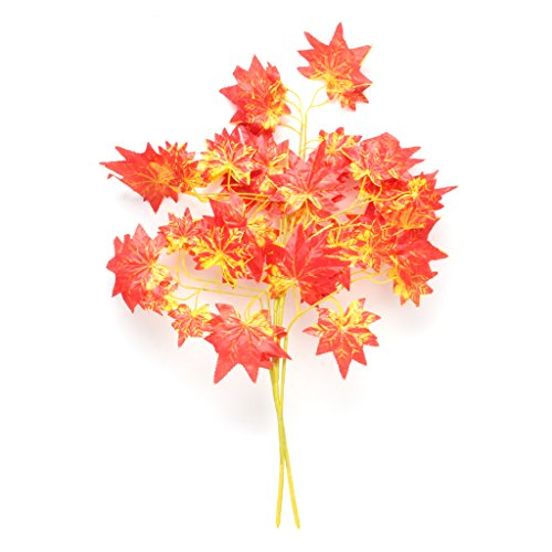 cici store 2Pcs Artificial Silk Maple Leaves - Fake Leaf Foliage Plant Home Decoration