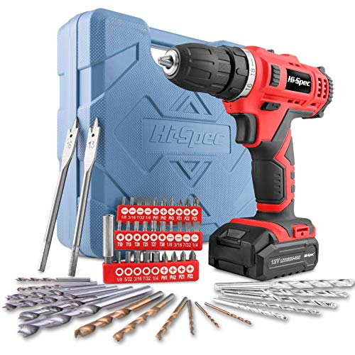 Hi-Spec 12V 1300mAh Li-ion Cordless Drill Driver, Twin Gear Speed with 20Nm Torque. Variable Speed Switch & LED Light With 49pc Drill & Screwdriver Bit Accessory Set in Storage Carry Case