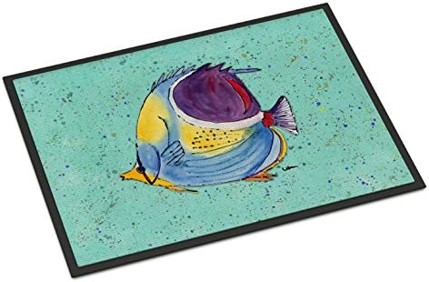 Caroline s Treasures 8576MAT Tropical Fish on Teal Indoor or Outdoor Mat 18×27, 18H X 27W, Multicolor