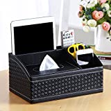 Creative Multi-function PU leather Desktop Tissue Holder Box Cover with 4-Compartment Organizer for Cell Phone/Cosmetics/Pencils/Makeup Brush/Pen and More - Size 27.5cmx17cmx13cm - Pure Weave Black