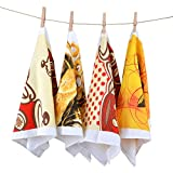 Newversal Kitchen Printed Floursack Dish Towel Set of 4, 15''x 25'', Cozy Style Print Random Combine