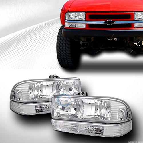 AutobotUSA CHROME HEADLIGHTS+SIGNAL BUMPER CORNER LAMPS KS 1998-2004 CHEVY S10 BLAZER/TRUCK