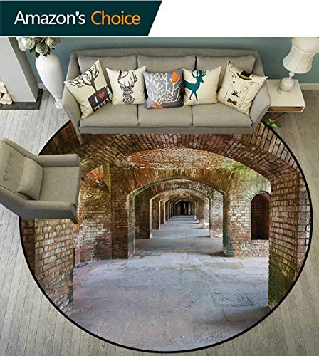 RUGSMAT Vintage Washable Creative Modern Round Rug,Brick Arches Dry Tortugas Old Fort Historic Heritage Tourist Attraction Vintage Design Coffee Table Mat Non-Skid Living Room Carpet,Round-35 Inch ()