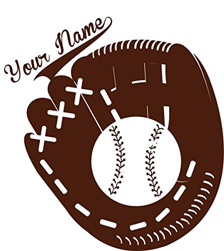 Chic Walls Removable Baseball Glove Baseball Custom Personalized Name Wall Art Décor Decal Vinyl Sticker Mural Nursery Boys Kids Room Brown 12