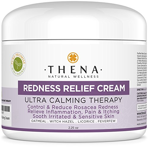Facial Redness Relief Cream For Rosacea Skin Care, Best Natural Moisturizer Treatment Product Repair Soothe Rosacea Face, Anti Redness Dermatitis Eczema Lotion, Relieve Sensitive Inflamed Red Dry Skin