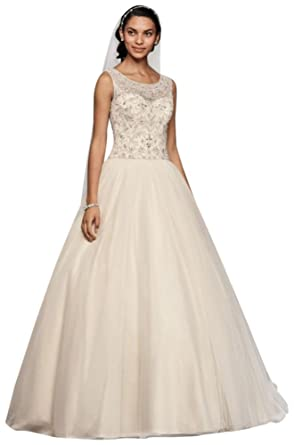 82e0c7dfc3af Oleg Cassini Ball Gown Wedding Dress with Beading Style CV745 at Amazon  Women's Clothing store: