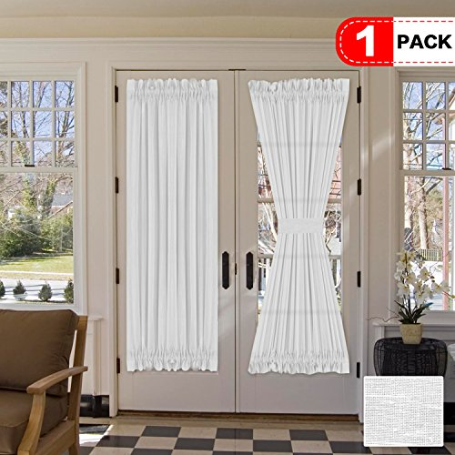 H.VERSAILTEX Elegant Soft Linen French Door Curtains - Light Filtering Curtain Panel, Rod Pocket Door Panel - 52W by 72L Inches - White - Single ()