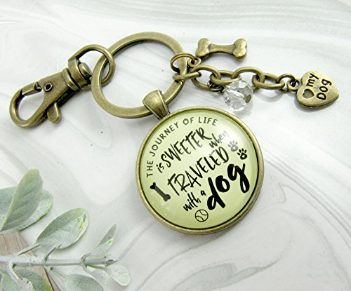 Sweeter BFF Friendship Pet Jewelry For Women Rustic Bronze Paw Bone Charms Key Chain (Bone Pet Charm)