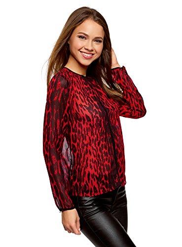 Fluide Liser Tissu Rouge en Chemisier avec oodji Femme Ultra 4529a Contrastant OcW1qnapX