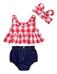 Kidsmall Baby Girls Outfits 3Pcs/Set Shirts Top+Jeans Shorts +Headband