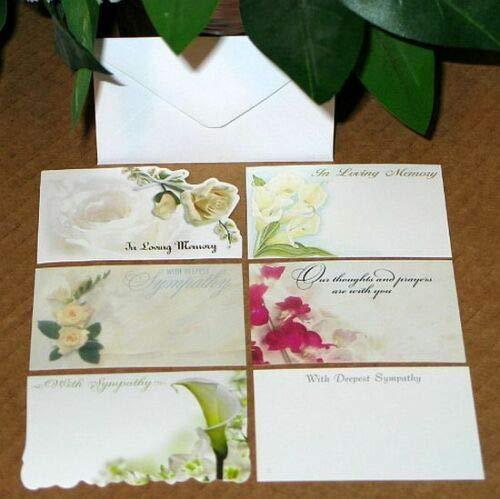 60 Sympathy in Loving Memory Florist Blank Enclosure Cards w/Envelopes Set - Enclosure Card Set