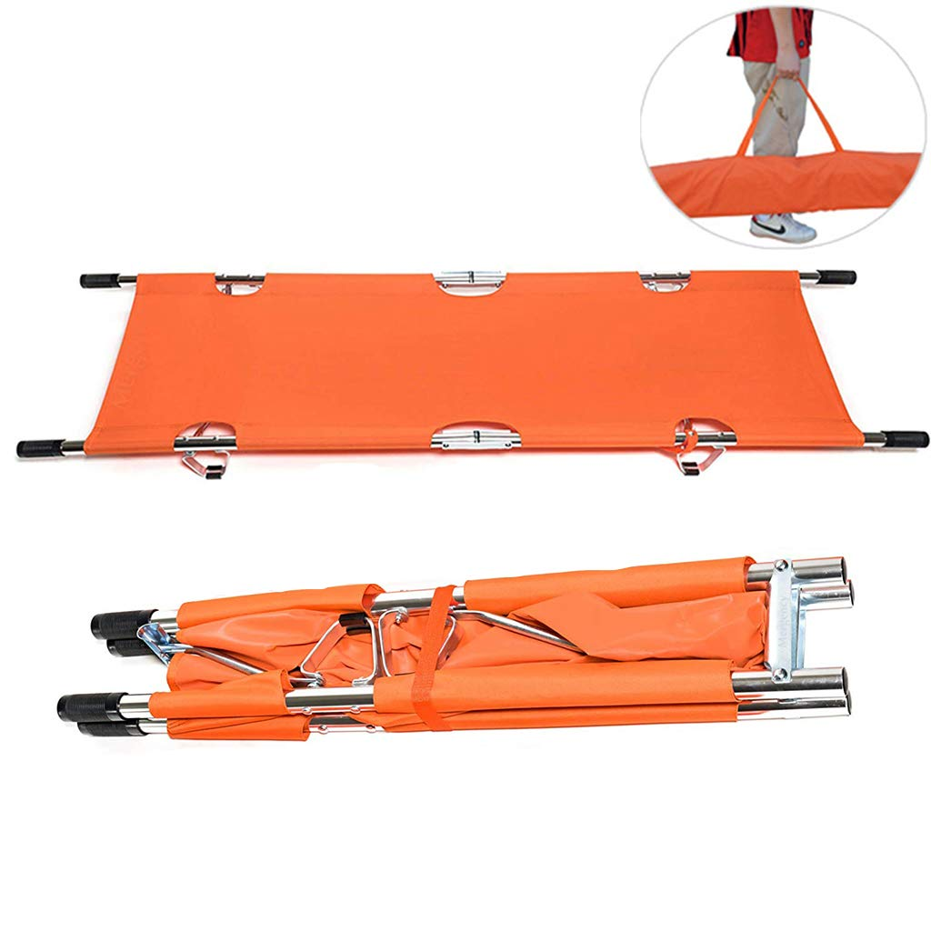 CMCL Aluminium Foldable Rescue Stretcher, Emergency Rescue Flat Foldaway Portable Stretcher with Two Steel Bars,Ambulance Medical Emergency by CMCL