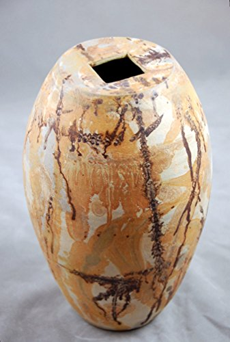 (Vase Large Gold Browns and White Contemporary Abstract Vase with Squared Opening)