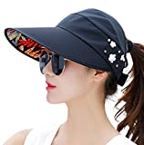 Clelo Sun Hats For Women Wide Brim UV Protection Summer Beach Visor Cap