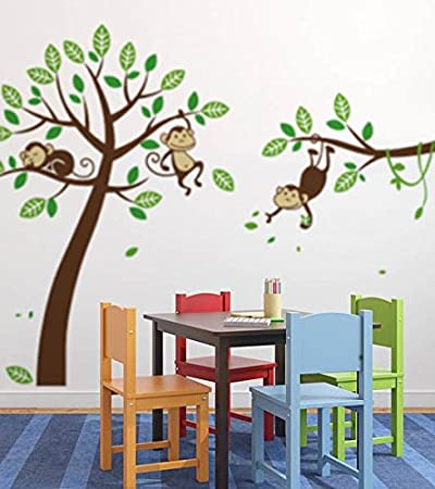 Amazon.Com : Large Monkey Tree Nursery Wall Decal Vinyl Art Decor