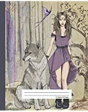 Composition Notebook Quad Ruled Graph Paper - Wild Dire Wolf & Elf Princess: Math Science Lab Exercise Book | 4 Squares Per Inch | 150 Grid Pages