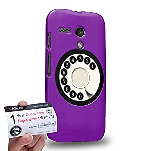Case88 [Motorola Moto G (1st Gen)] 3D impresa Carcasa/Funda dura para & Tarjeta de garantía - Art Hand Drawing Purple Retro Phone
