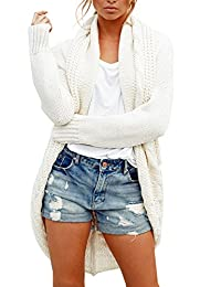 Simplee Women's Open Front Cable Knit Cardigan Long Sleeve Sweater with Pocket
