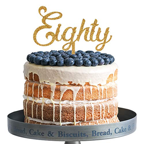 Eighty Happy Birthday Cake Topper Gold Glitter Acrylic Cake Topper 80 Years Old Party Decoration Gifts.