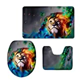 HUGSIDEA Colorful Lion Pattern 3 Piece Non Slip Bathroom Rug Set Bath Mat + Contour Rug + Toilet Lid Cover