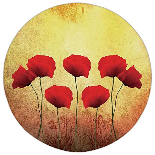 Round Area Rug Mat Rug,Poppy,Poppies on An Old Aged Retro Featured Backdrop Design Past Days Drama Petals Artprint,Red Cream,Home Decor Mat with Non Slip Backing