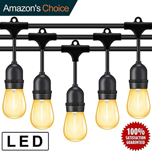 Outdoor String Lights Led 48 Feet,Waterproof Commercial Grade Heavy Duty Connectable Edison String Light with 15 Vintage Bulbs and 1 Spare Bulb UL listed,String Lighting for patio Garden Wedding Party