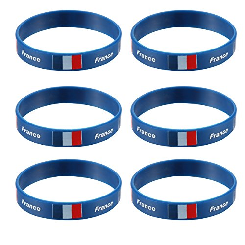 LUOEM Inspirational Silicone Wristband Rubber Bracelet Fashion Sports Bracelet,Unisex Teen Adult Fashion Supreme for 2018 World Cup Pack of 6 (France) ()