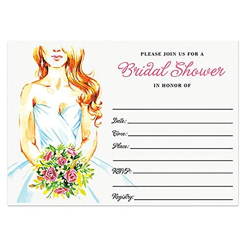 Fabulous Invitations Postcard - 50 Bridal Shower Invitations with Envelopes (Pack of 50) Beautiful Bride Wedding Shower Invites 50 ct Excellent Value Invitations VI0005