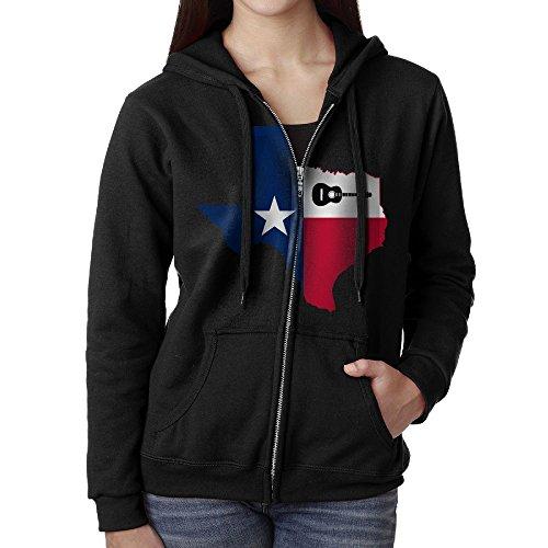 Texas Guitar Casual Womens Full-Zip Sweatshirt Hoodie Jacket Black Large